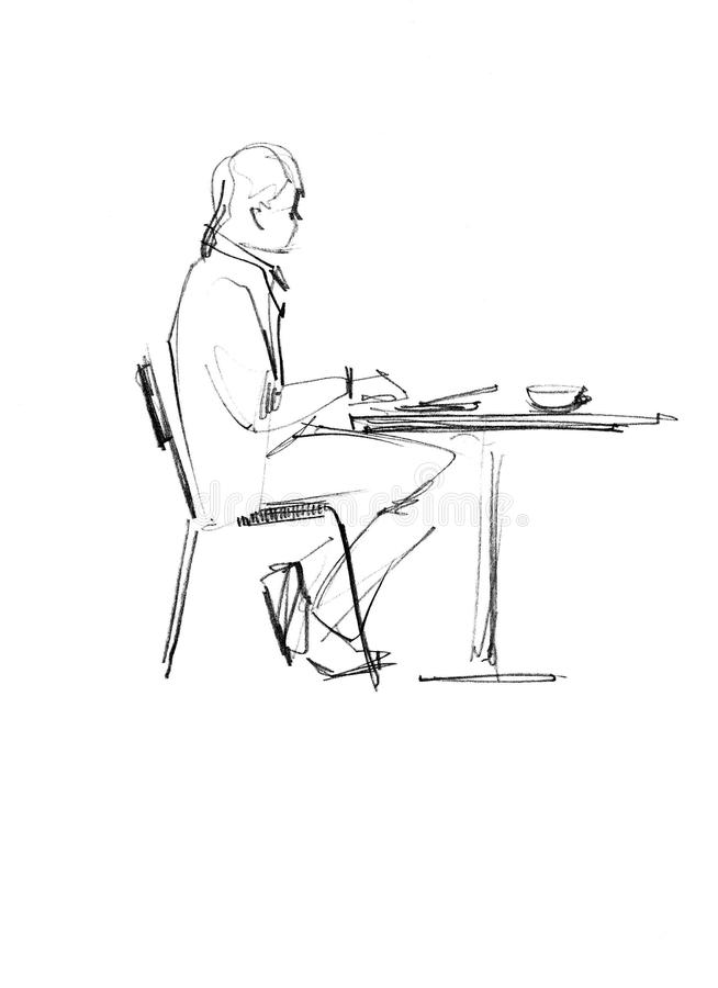 Fellow at the table. Image of fellow sitting on a chair at the table vector illustration