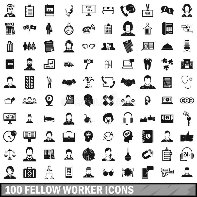 100 fellow worker icons set, simple style. 100 fellow worker icons set in simple style for any design vector illustration stock illustration