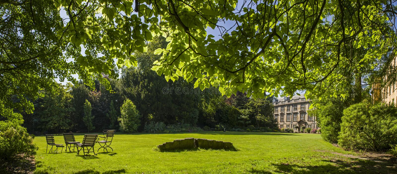 Fellows Garden at Christ's College in Cambridge royalty free stock photo