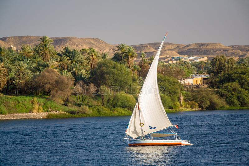 Felluca, A传统埃及风船 库存照片