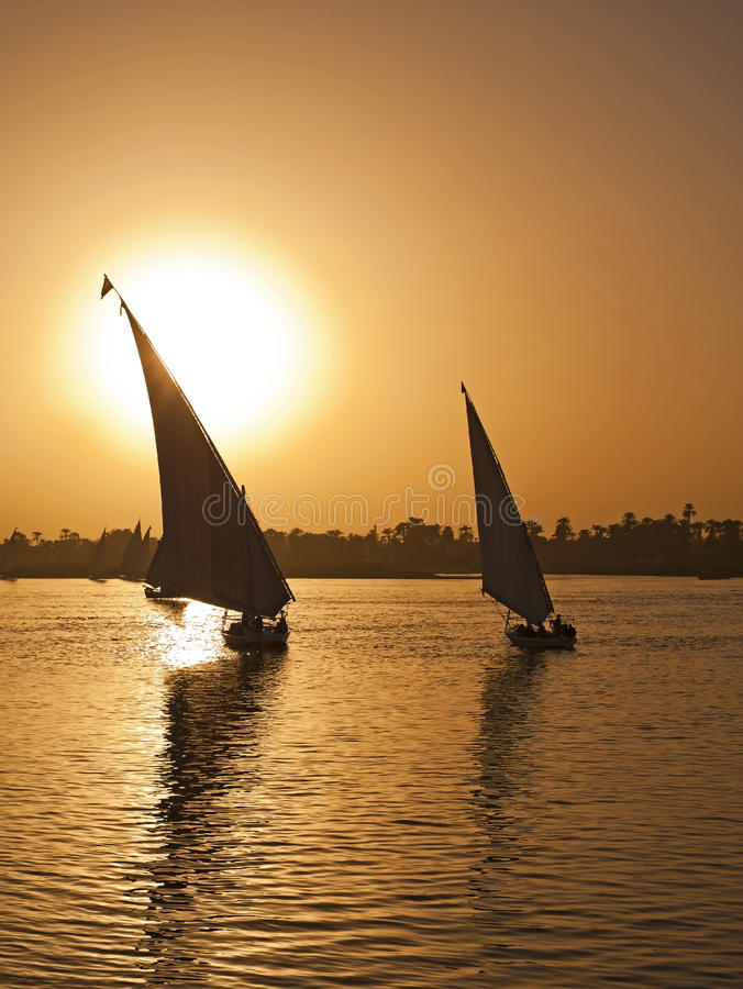 Free Felluca Sailing On The River Nile At Sunset Royalty Free Stock Image - 17557276