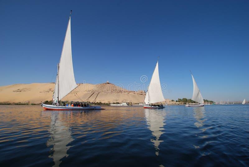 Fellucca, Assuan, Ägypten stockbild