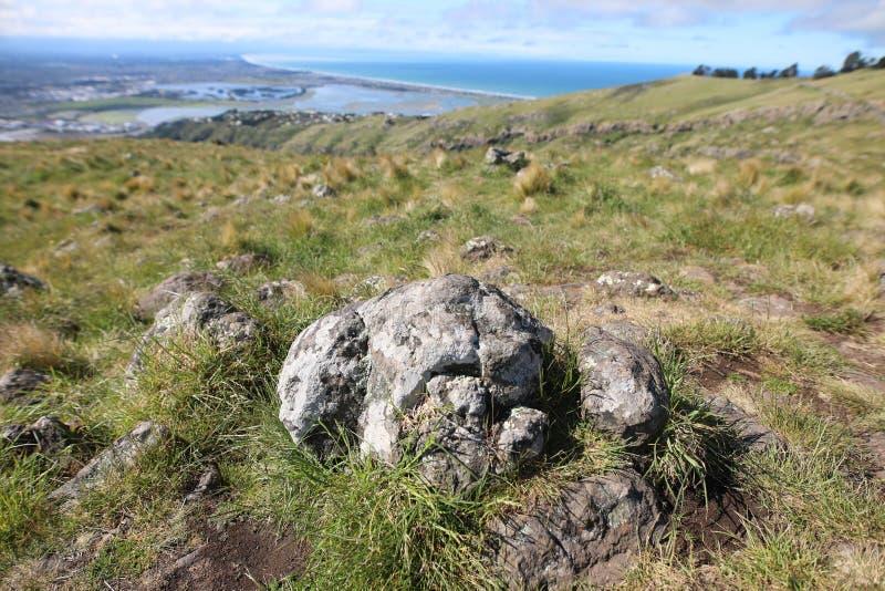 Felsen auf Christchurch-Beobachtung stockfoto