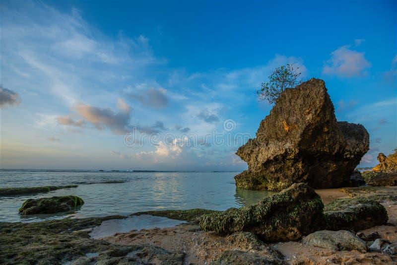 Felsen auf Strand in Bali stockbild
