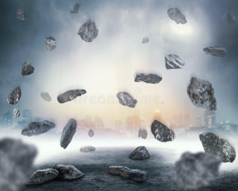 Felsen, die in Chaos fallen stockbild