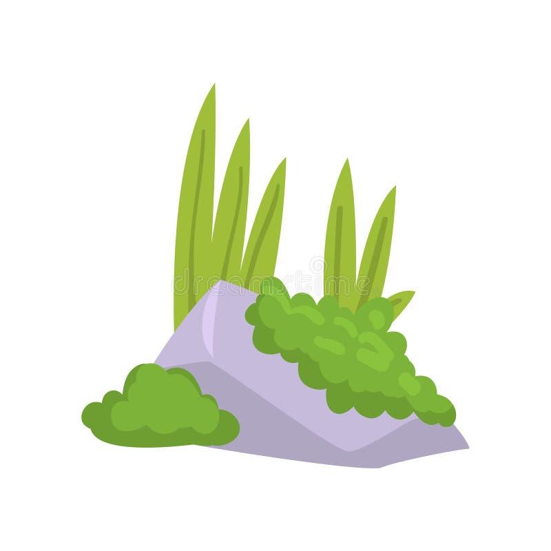 Felsen-Granit-Stein mit Moos und grünem Gras, Naturlandschafts-Gestaltungselement-Vektor-Illustration lizenzfreie abbildung