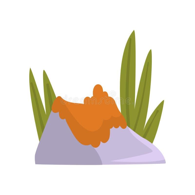 Felsen Gray Granite Stone mit orange Moos und grünem Gras, Naturlandschafts-Gestaltungselement-Vektor-Illustration vektor abbildung