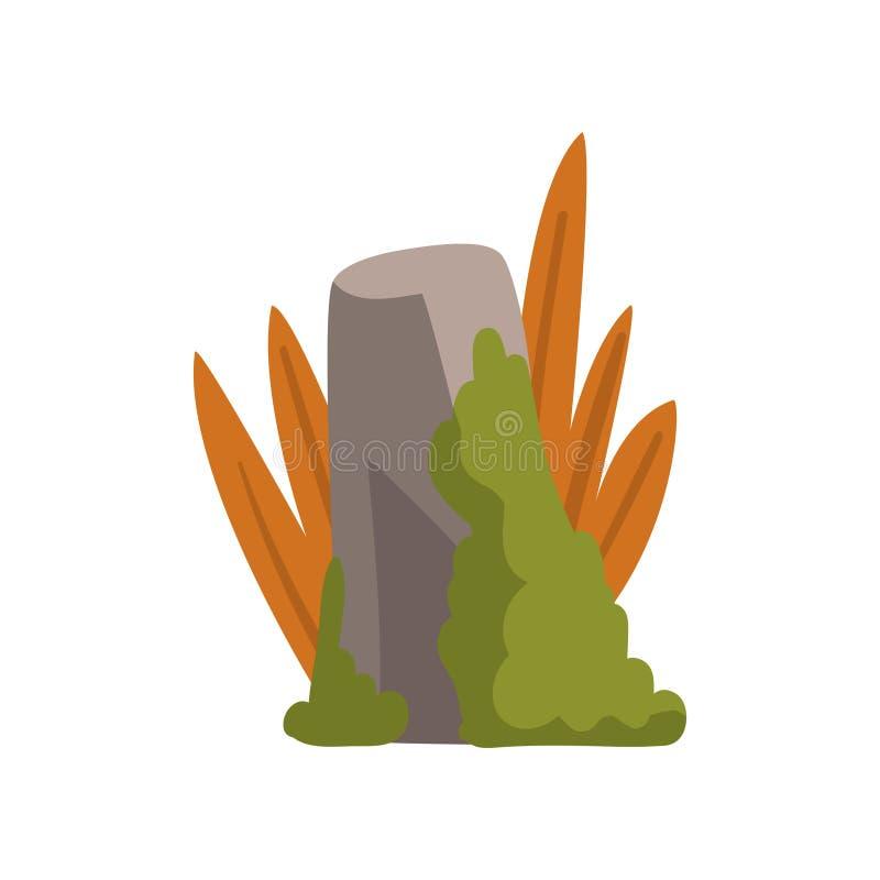 Felsen Grey Stone Boulder mit Moos und Gras, Wald, Gebirgsnaturlandschafts-Gestaltungselement-Vektor-Illustration lizenzfreie abbildung