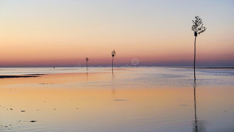 Felsen-Hafen-Sonnenuntergang Orleans MA lizenzfreies stockfoto