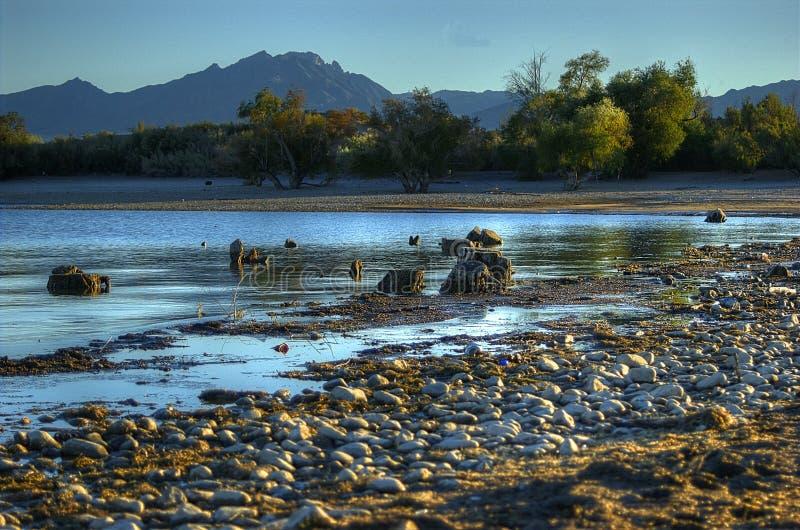 Felsen-Küstenlinie, See Mohave-nationales Erholungsgebiet, Las Vegas, Nevada, USA lizenzfreies stockbild