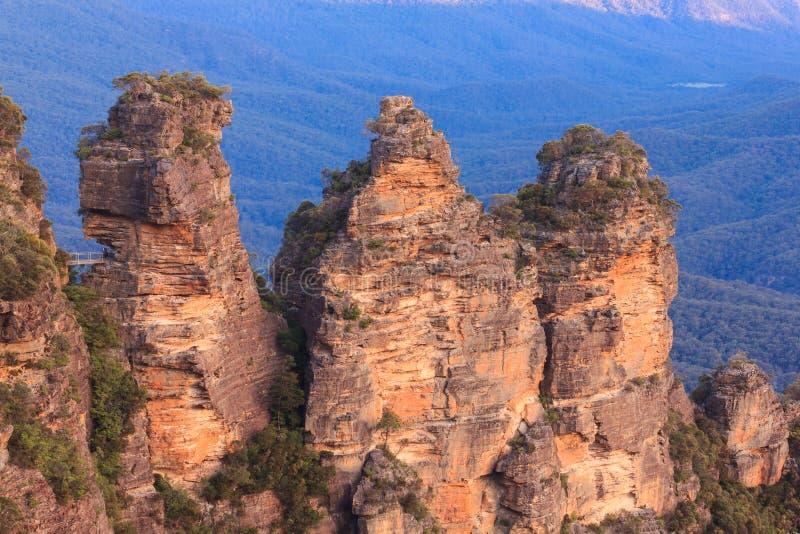 Felsen mit drei Schwestern, blauer Gebirgsnationalpark, Australien lizenzfreie stockbilder
