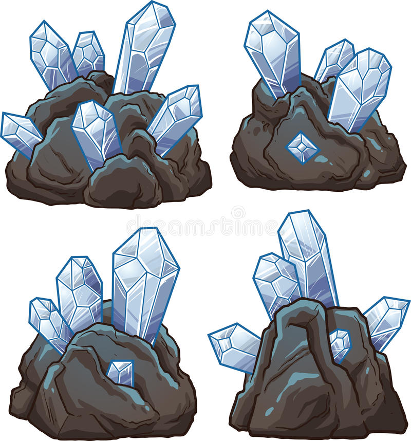 Felsen mit Kristallen stock abbildung