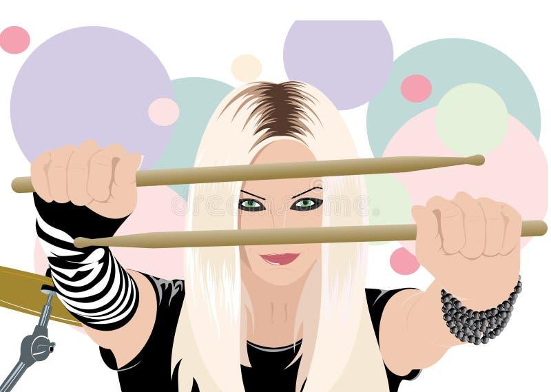 Felsen-N-rollen Sie mit der schönen Blondine lizenzfreie abbildung
