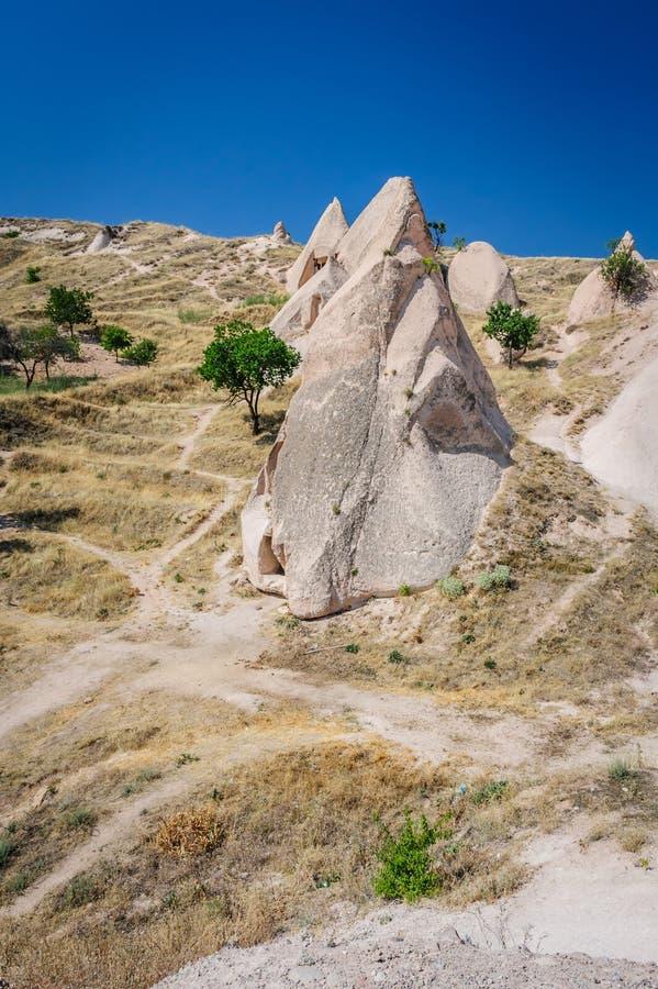 Felsen nahe Goreme, Cappadocia, die Türkei lizenzfreie stockfotografie