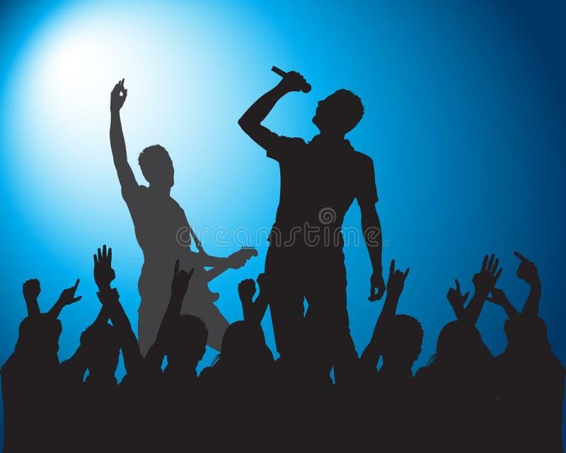 Felsen Schattenbilder von Musikern stockbilder