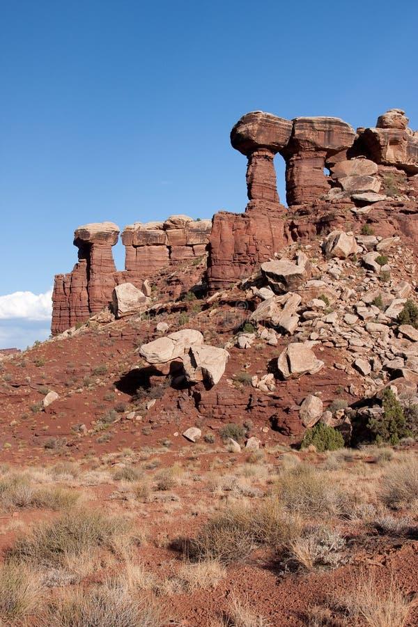 Felsen-Strukturen Canyonlands am Nationalpark stockfotografie