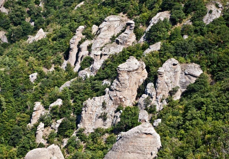 Felsen und Bäume stockbild