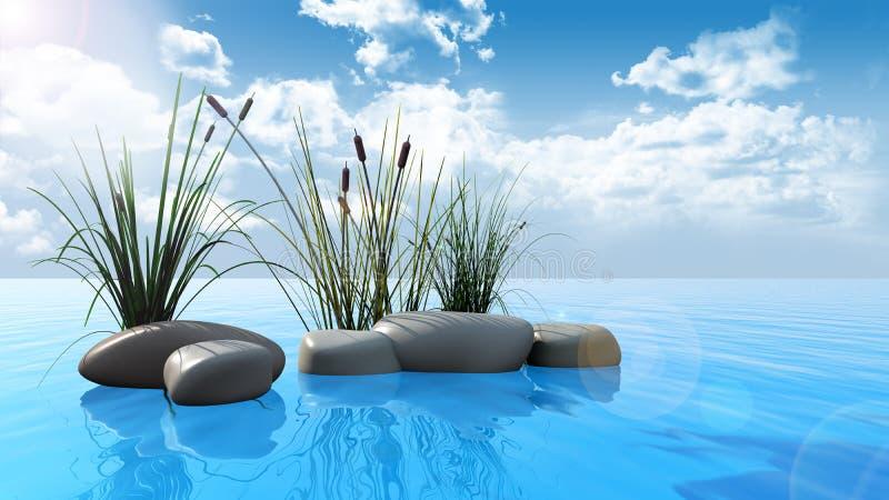 Felsen und Schilfe auf Wasser lizenzfreie abbildung