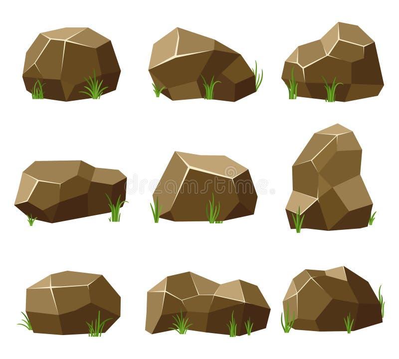 Felsen und Steine stellten mit Gras auf weißem Hintergrund ein Steine und Felsen in der isometrischen flachen Art 3d Gesetzte ver stock abbildung