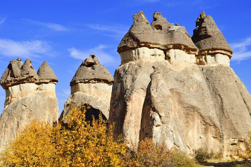 Felsen von Cappadocia in zentralem Anatolien, die Türkei stockbild
