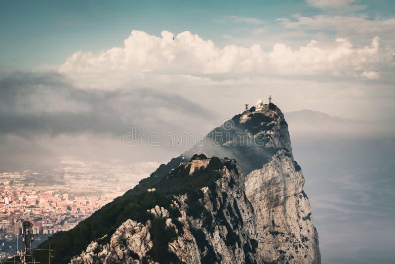 Felsen von Gibraltar, Ansicht von der Spitze stockbild