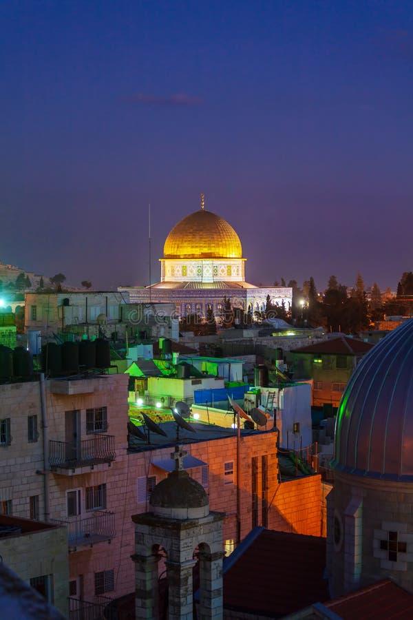 Felsendom nachts, Jerusalem, Israel stockbild