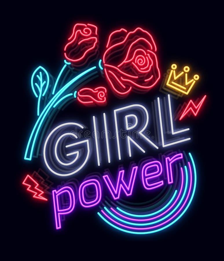 Felsendruck- und -sloganvektor Mädchen-Energie für T-Shirt oder andere Zwecke Symbol von Feminismus für den Druck in einer Neonar lizenzfreie abbildung