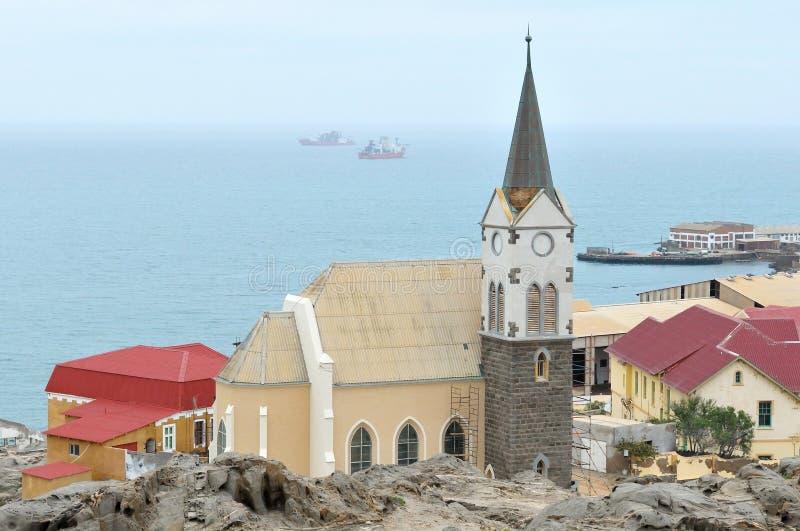 Felsenkirche in Luderitz, Namibië royalty-vrije stock foto's