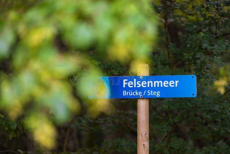 Felsenmeer sign hemer germany. A felsenmeer sign hemer germany royalty free stock photo