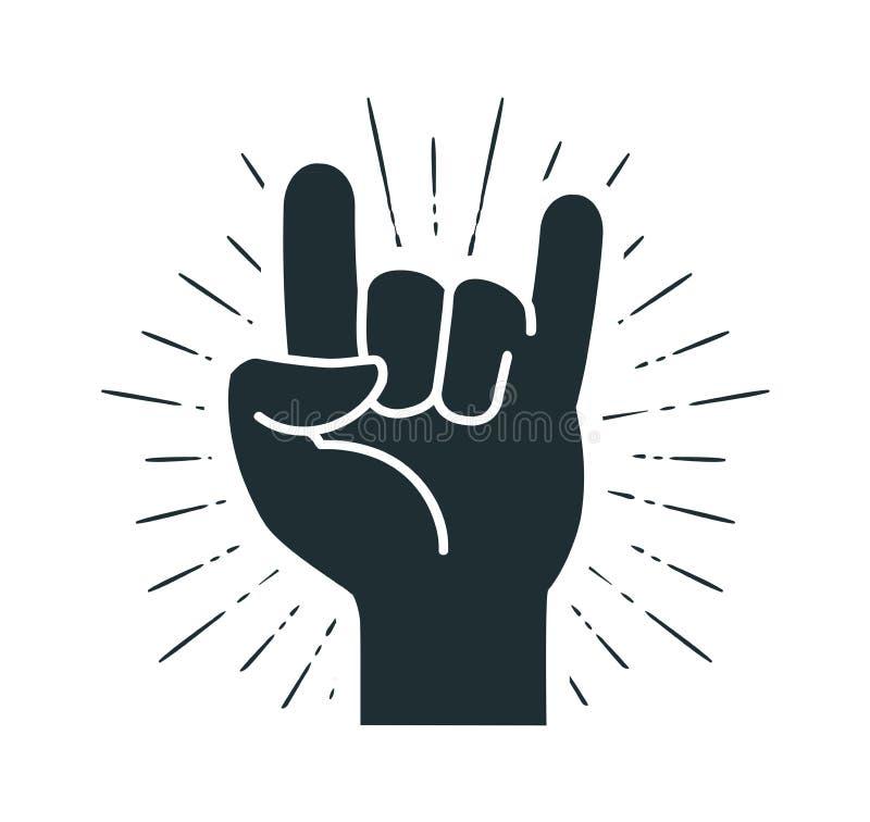 Felsensymbol, Handzeichen Kühl, Partei, Respekt, Kommunikationsikone Schattenbildvektorillustration lizenzfreie abbildung