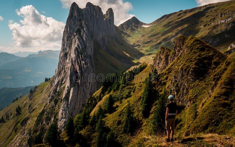 Felsformation im Schweizer Berg-alpstein, Kerl, der auf einen Berg steht lizenzfreies stockbild