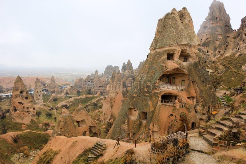 Felsformationen bei Cappadocia, Anatolien, die Türkei lizenzfreie stockfotos