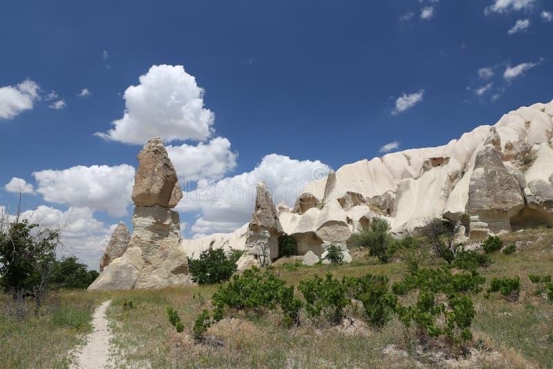 Felsformationen im Klingen-Tal, Cappadocia stockbild