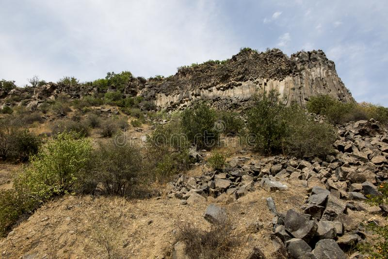 Felsformationsbasaltsäulen Symphonie der Steine nahe Garni, stockfotografie