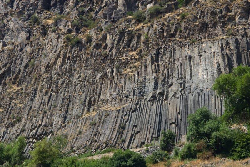 Felsformationsbasaltsäulen Symphonie der Steine nahe Garni, Armenien, selektiver Fokus lizenzfreies stockfoto