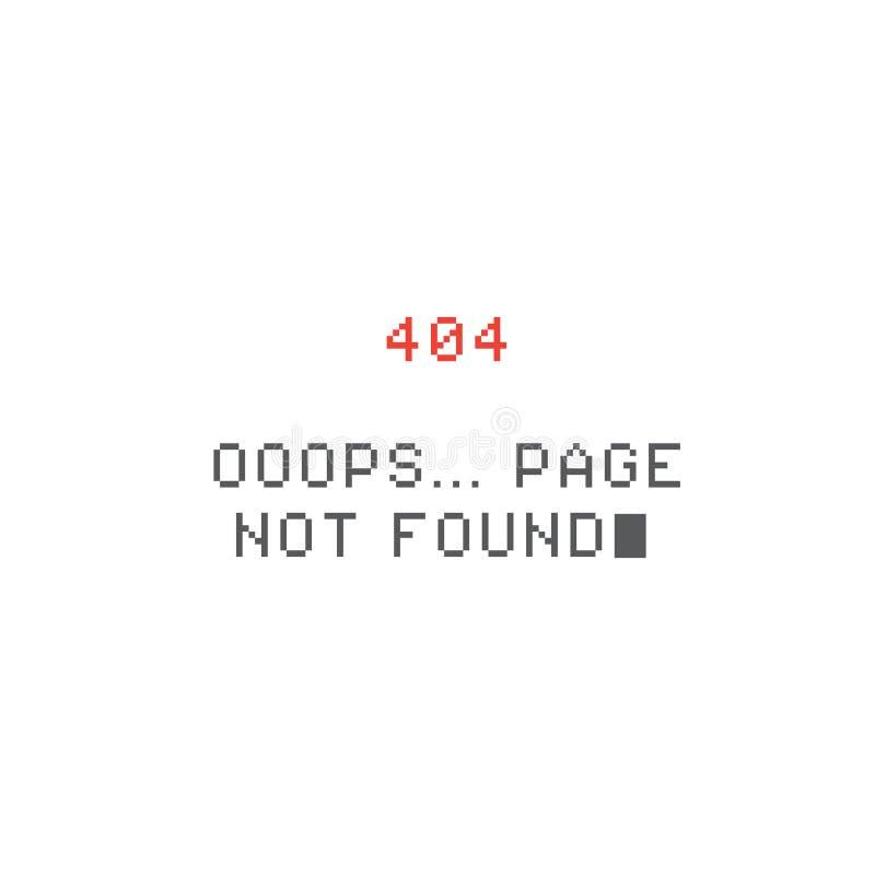 Felsida för PIXEL 404 funnen inte sida royaltyfri illustrationer