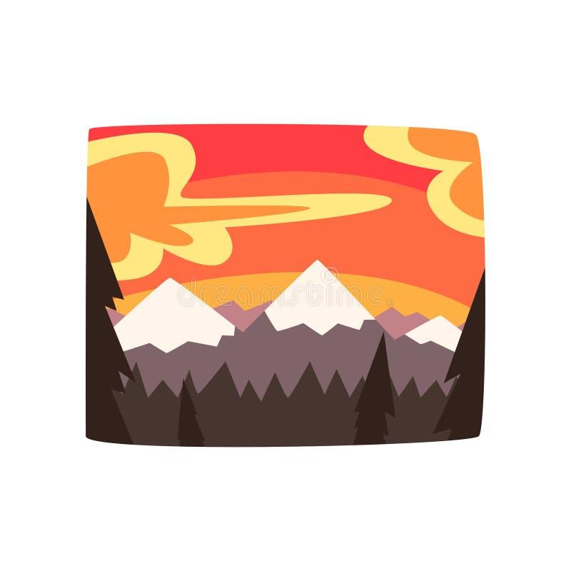 Felsige Berge bei Sonnenuntergang, schöner Naturlandschaftshintergrund, horizontale Vektorillustration vektor abbildung
