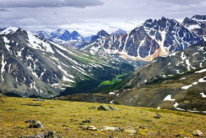 Felsige Berge im Jaspis-Nationalpark, Kanada stockbild