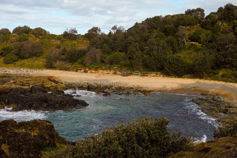 Felsige Küste an wenigem Bucht-Hafen Macquarie Australien lizenzfreie stockfotografie