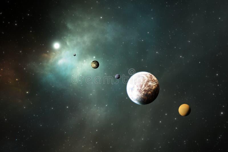 Felsige Planeten, Exoplanets oder Extrasolar Planeten vom tiefen Weltraum stock abbildung