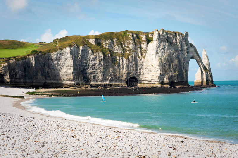 Felsiger Strand in Normandie, Frankreich stockfoto