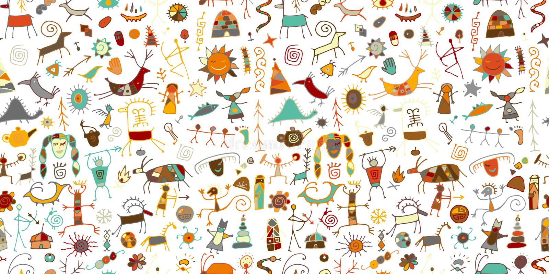 Felsmalereien Hintergrund, nahtloses Muster f?r Ihren Entwurf stock abbildung