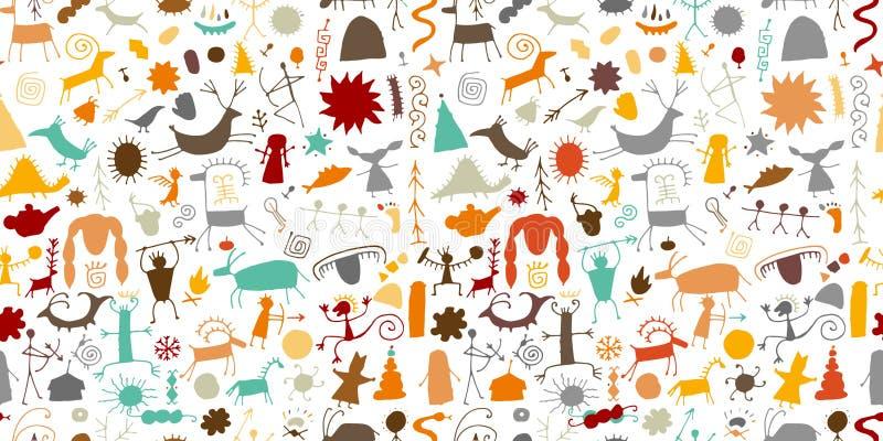 Felsmalereien Hintergrund, nahtloses Muster f?r Ihren Entwurf lizenzfreie abbildung
