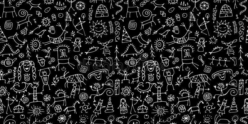 Felsmalereien Hintergrund, nahtloses Muster f?r Ihren Entwurf vektor abbildung