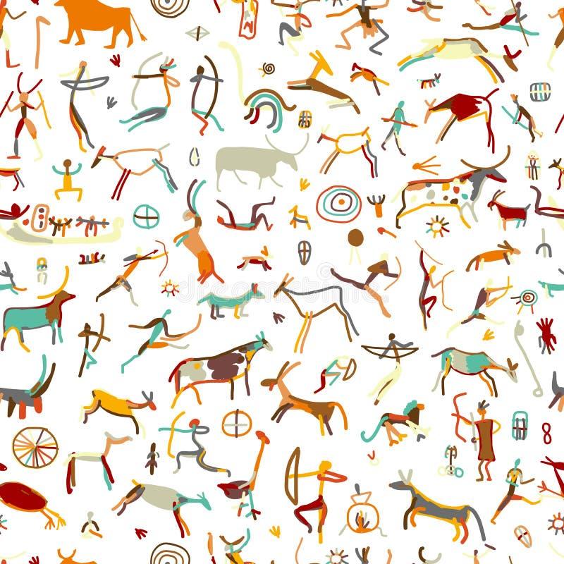 Felsmalereien mit ethnischen Leuten, nahtloses Muster stock abbildung