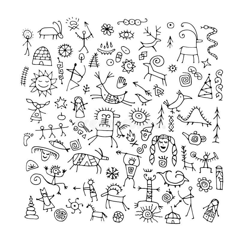 Felsmalereienhintergrund, Skizze f?r Ihren Entwurf stock abbildung