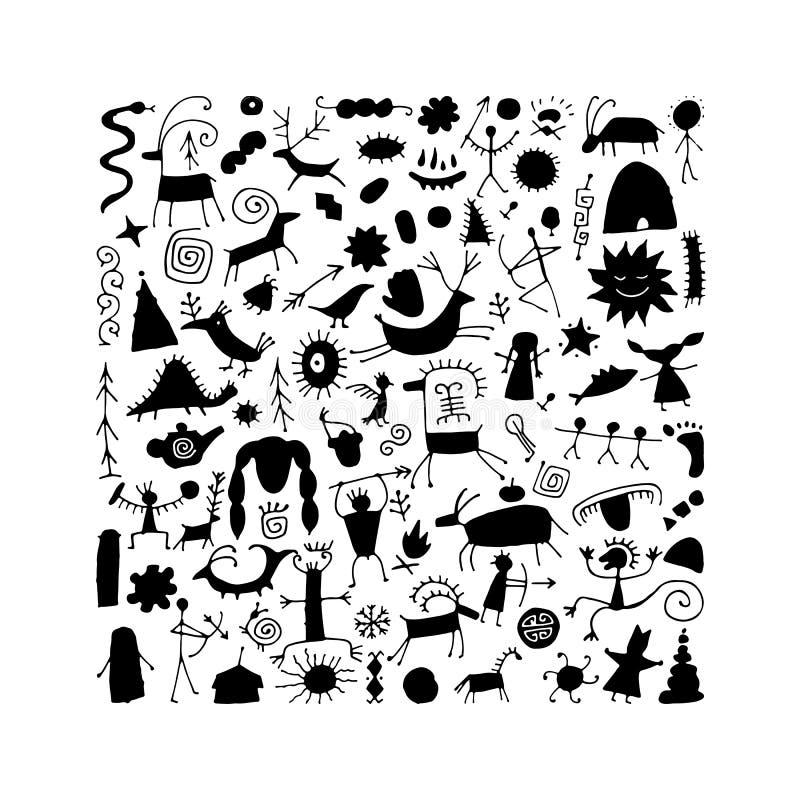 Felsmalereienhintergrund, Skizze f?r Ihren Entwurf lizenzfreie abbildung