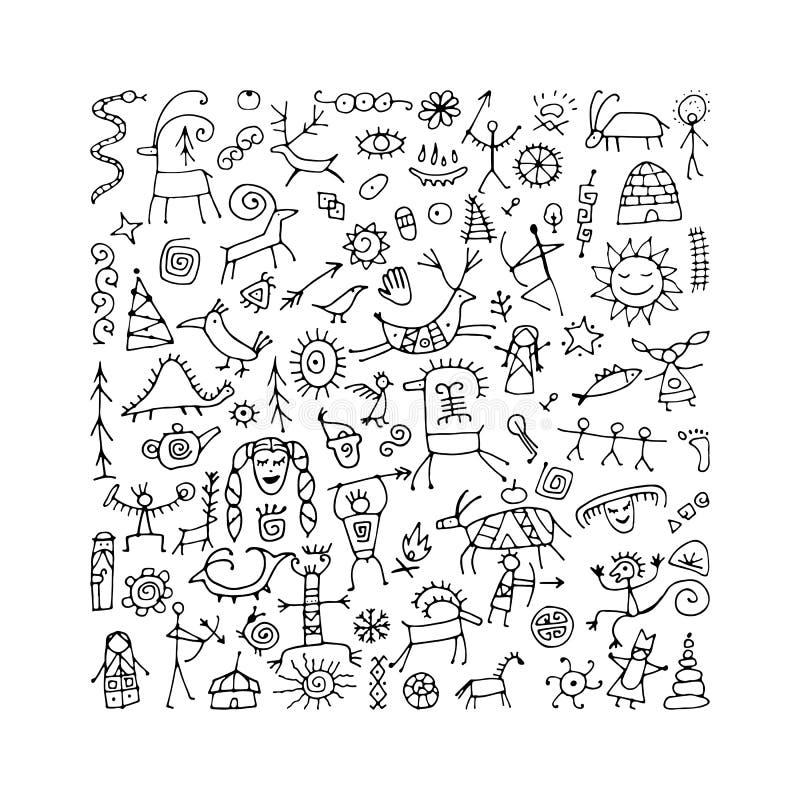 Felsmalereienhintergrund, Skizze f?r Ihren Entwurf vektor abbildung