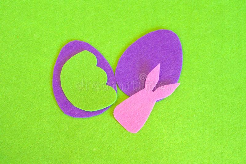 Felt Easter egg and bunny ornament. How to make handmade Easter ornament. Sewing concept. Step royalty free stock photos