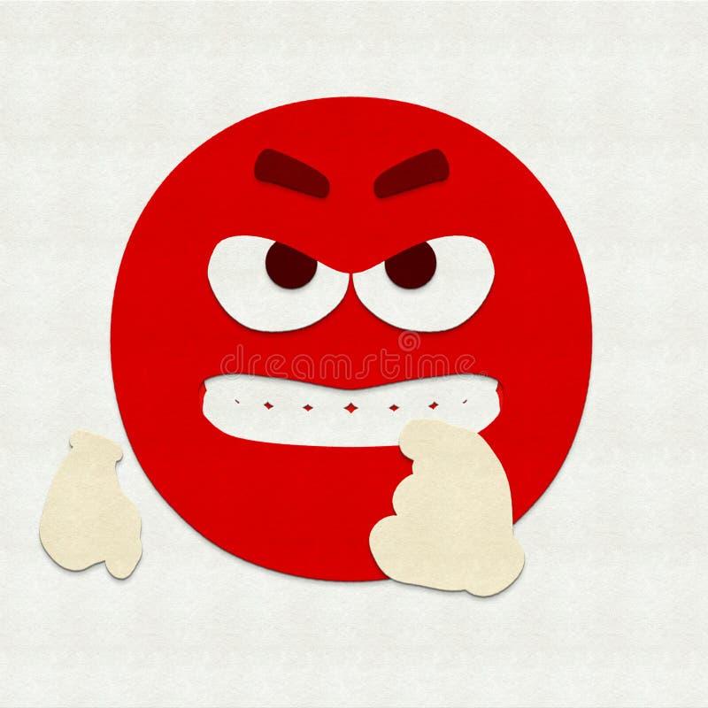 Felt Emoticon Baring Teeth. Felt illustration of an emoticon baring teeth stock photography